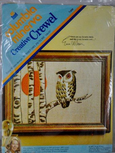 CM VINTAGE 1973 Columbia Minerva SUNSET OWL PICTURE Kit - Erica Wilson - 14
