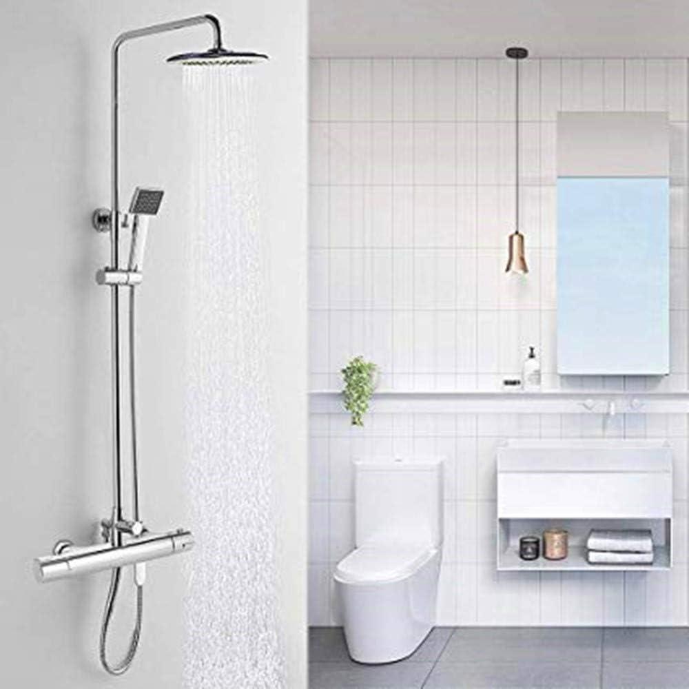 grifo mezclador termost/ático para cuarto de ba/ño Grifo termost/ático de ducha ba/ñera de pared con dos salidas altas y bajas de lat/ón candado redondo