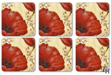 Pimpernel Poppies - Pimpernel Poppy de Villeneuve Coasters - Set of 6 by Pimpernel