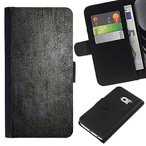 Protector de cuero de la PU de la cubierta del estilo de la carpeta del tirón BY RAYDREAMMM - Samsung Galaxy S6 EDGE - NEGRO MODELO DEL GRUNGE DE LA VENDIMIA