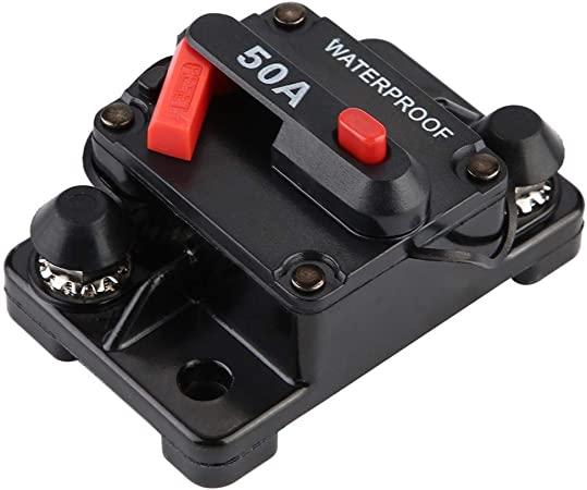 60V Garosa Circuit Breaker Manual Reset Circuit Breaker with Waterproof Protective Cover 50-250A DC High Current Overcurrent Protector for Ships Trailers Electric Vehicles
