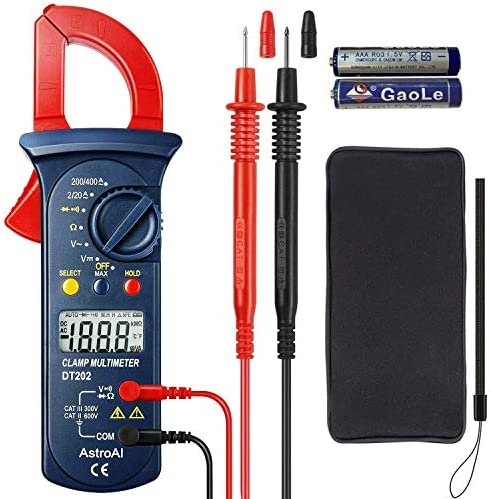 Astroai Clamp Meter Stromzange Digitaler Multimeter Mit 2000 Counts Auto Range Spannungsprüfer Wechselstrom Widerstand Kontinuität Testet Dioden Rot Baumarkt