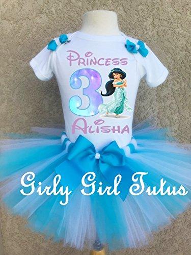 Jasmine Princess Girls Personalized Birthday Outfit Tutu Set by Girli Girl Tutus