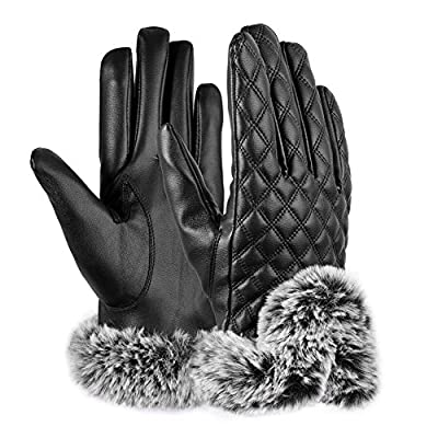 Vbiger Womens Leather Gloves Texting Touch Screen Gloves Warmest Mittens