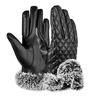 Vbiger Womens Leather Gloves Texting Touch Screen Gloves