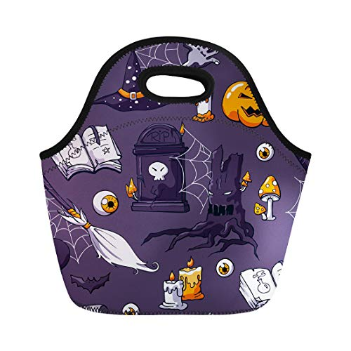 Tinmun Lunch Tote Bag Halloween on Violet Doodle Pattern Zombie Hand Bat Potion Reusable Neoprene Bags Insulated Thermal Picnic Handbag for Women -