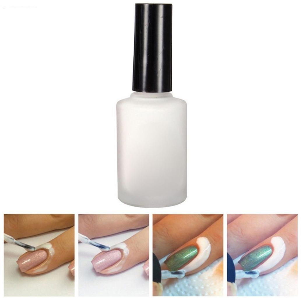 Peel Off Liquid Tape Latex, AMA(TM) 15ml Latex Tape Peel Off Base Coat Nail Art Liquid Cream Palisade (White) BaoST