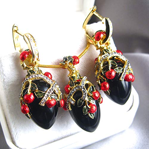 BLACK ONYX JEWELRY SET Large Russian Faberge Egg Pendant/Earrings, 925 Sterling Silver, Swarovski Crystals, 24k Gold, Enamel, Silver Hoops w/Cubic Zirconia Gift for Her Jewelry for Woman