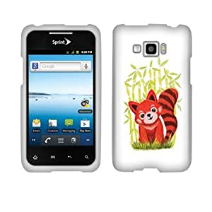 Fincibo (TM) Protector Cover Case Snap On Hard Plastic For LG Optimus Elite Quest LS696 L46C - Red Panda In Bamboo Forest