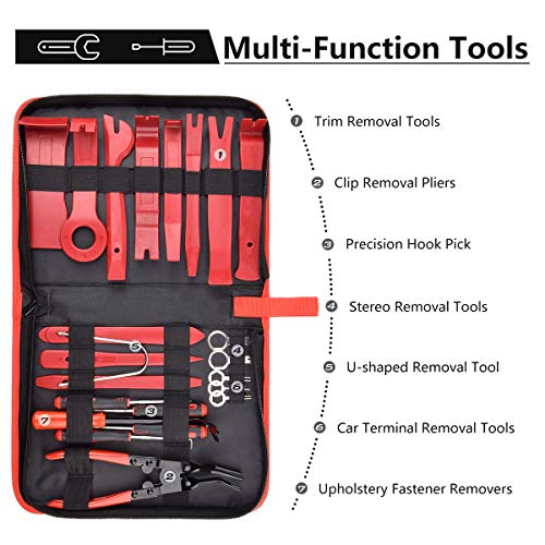 DKIIGAME Car Trim Removal Tool Car Panel Removal Tools Kit Auto Trim Removal Tool Kit for Car Panel Dash Audio Radio Removal Installer and Repair Pry Tool Kits with Storage Bag (23 Pcs) by DKIIGAME (Image #1)