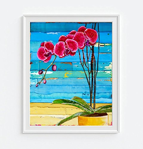 Wish You Were Here - Orchids at the Beach, by Danny Phillips Art Print, UNFRAMED, Hawaiian summer flower pot coastal Hawaii nautical beach art, 8x10 inches