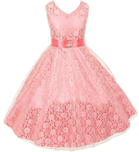 Little Girls Lace Overlay Satin Brooch Flowers Girls Dresses Coral Size 6]()