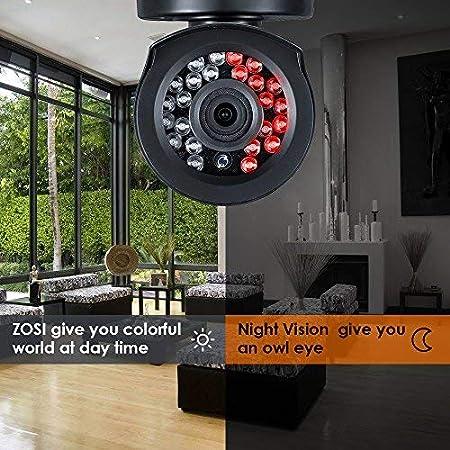 720P Sistema de Seguridad 8Canales 4 Cámaras Kit de vigilancia ZOSI CCTV DVR Impermeable 20m Visión Nocturna App para Vigilancia en Móvil/PC con 1TB Disco ...