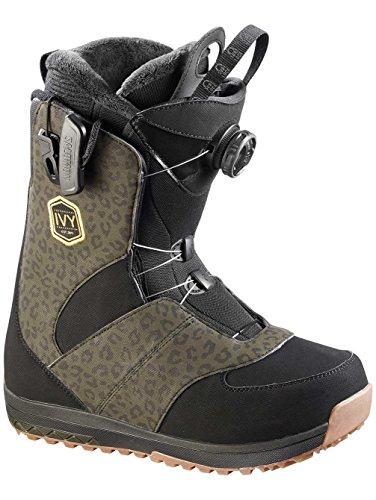 Boot Ivy Snowboard (Salomon Ivy Boa Str8jkt Womens Snowboard Boots - 7.5/Black-Leopard)