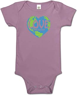 product image for Soul Flower Love Your Mother Organic Cotton Baby Onesie, Purple Unisex Graphic Short Sleeve Infant Bodysuit