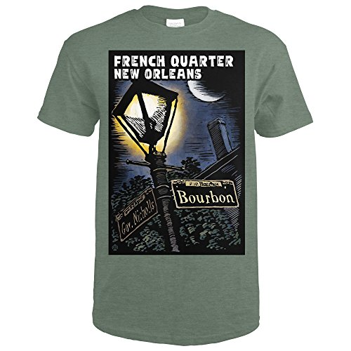 New Orleans, Louisiana - French Quarter - Bourbon Street - Scratchboard (Heather Military Green T-Shirt - French Clothing Men's Quarter