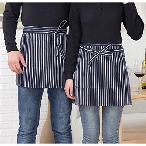 XENO-Half-length Short Waist Colour Apron With Pocket Catering Chef Waiters Bar Apron (blue - Vision App Prescription