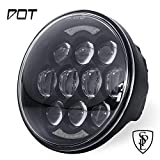 SPL Newest 80W DOT Approved 5-3/4'' 5.75'' Osram Chips LED Projector Headlight for Harley Motorcycles(Black)