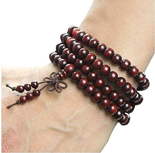 HAO Sandalwood Buddhist Buddha Meditation 8mm*108 Prayer Bead Mala Bracelet/Necklace(red)