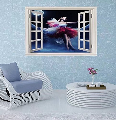 FBAhome Wall Sticker- Cute woman sitting on the swing Window Frame Style Wall Sticker Home Decor (24