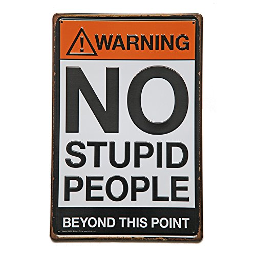 NEW DECO Warning No Stupid People Beyond This Point Rustic Metal Tin Sign Wall Decor Art 8x12 Inches (20x30cm)