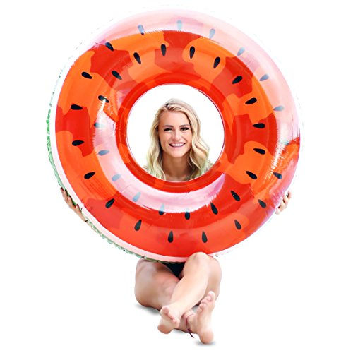 Giant Inflatable Watermelon Pool Floats For Adults And Kids   42 Inch   Extra Durable Pool Float
