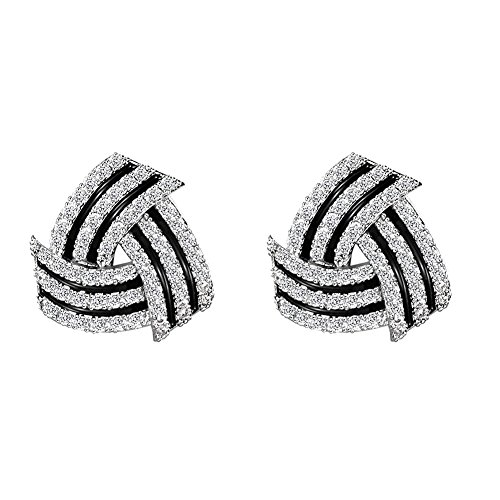 - GooNight Geometry Triangle Stud Earrings Classic Black and White Strips Design for Elegant Women