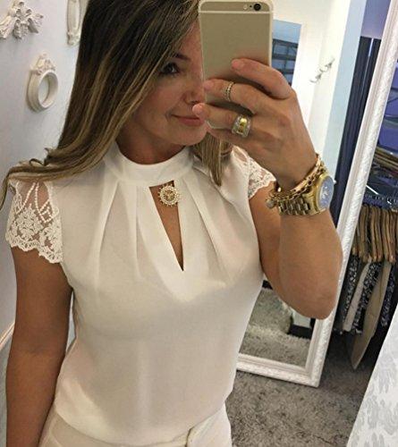 T Haut Chemisier Blouse Casual Blouse V Manches Femme Chic Tops lgant Blanc Courtes Tunique Shirt Sentaoa Col qtSBZ6w7cP