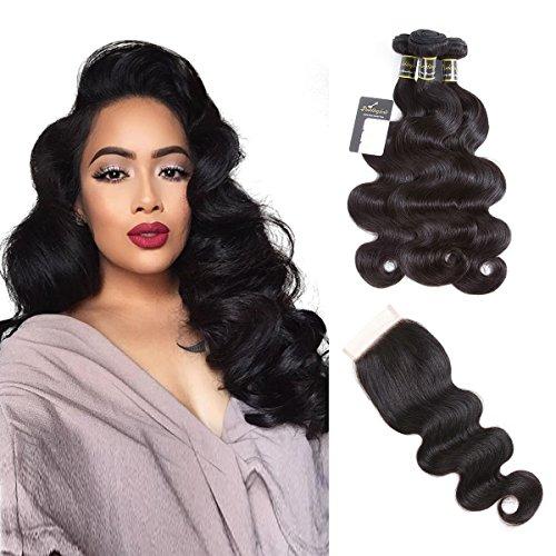 Puddinghair Body Wave 3 Bundles with Closure Unprocessed Brazilian Human Hair Bundles Natural Black 100% Virgin Hair Bundles (18''20''22''+18''Closure,Free Part) by Puddinghair