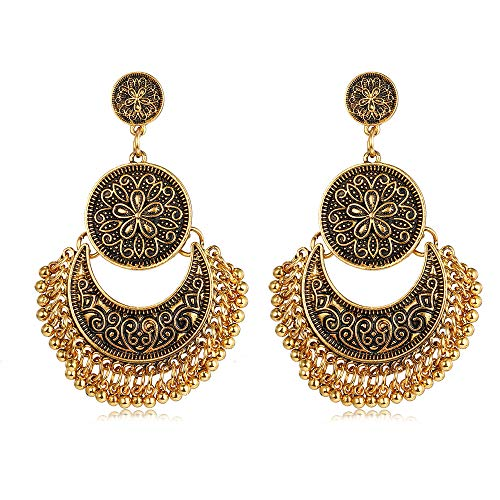 CHOA Antique Ethnic Engraved Lotus Dangle Earrings for Women,Mexico Gypsy Hook Earrings for Girls (Bronze)