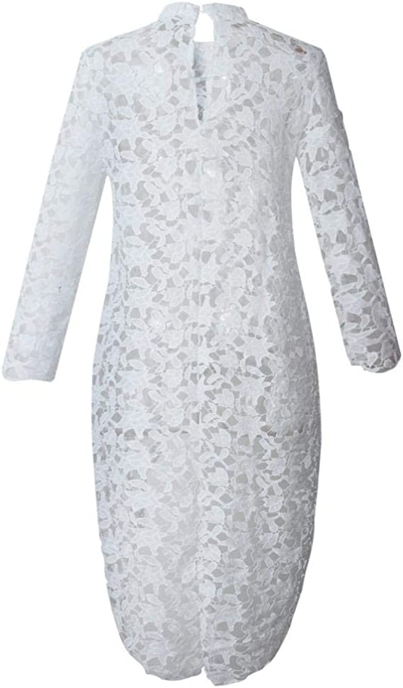 Puedo Womens Lantern Long Sleeve Round Neck High Low Asymmetrical Hem Casual Tunic Tops Blouse Shirt Dress