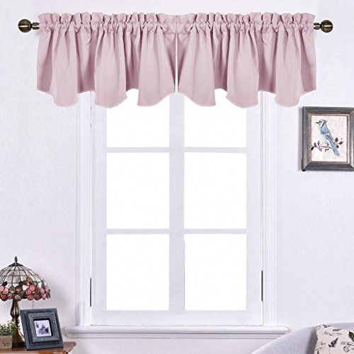 Nicetown Bedroom Blackout Valance Tier - 52-inch by 18-inch Scalloped Rod Pocket Valance Window Curtain For Girls' Room,