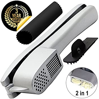 Garlic Press & Slicer 2 in 1 - GiniHome Heavy Duty Aluminium Garlic & Ginger Mincer and Slicer - with Slicing and Grinding Functions & Cleaner