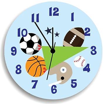 Amazoncom Sport Wall Clock For Boys Bedroom Nursery Wall Art - Wall clock for kids room