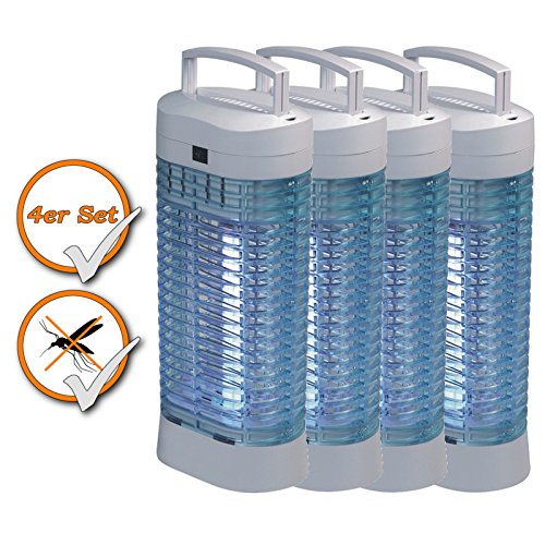 4er Set Insektenvernichter ohne Chemie, tötet Mücken + Insekten, Hochspannung 2000V, geruchsneutral