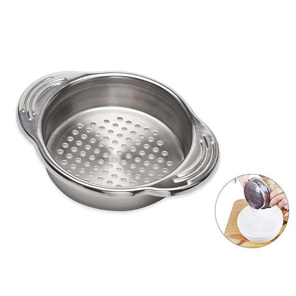 Sikye Colander, Stainless Steel Metal Perforated Colander Durable Vegetable and Fruit Can Strainer with Handle