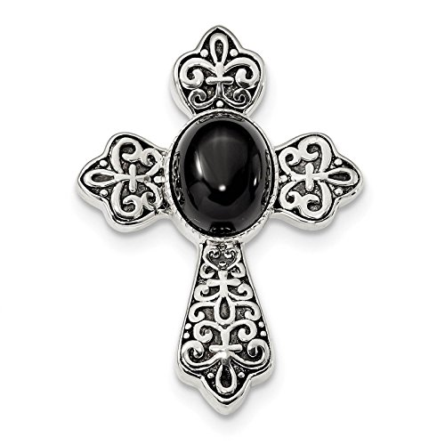 925 Sterling Silver Antiqued Finish w/Black Onyx Cabochon Cross Chain Slide Pendant