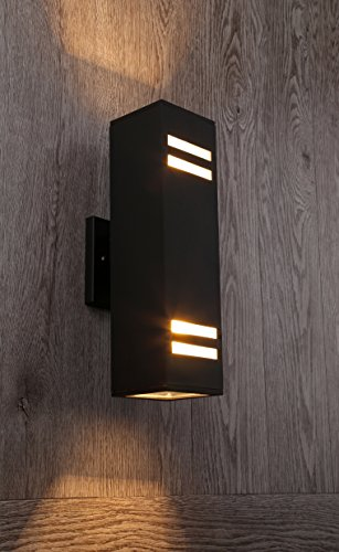 Cerdeco 37841TZ Brandon 2-Light Outdoor Wall Lamp, Matte Black with Frosted Glass [UL Listed] by Cerdeco