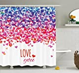 Love Shower Curtain by Ambesonne, Hearts and Love You Message Romantic Valentine's Day Inspired Springtime Cheerful Art, Fabric Bathroom Decor Set with Hooks, 84 Inches Extra Long, Multicolor