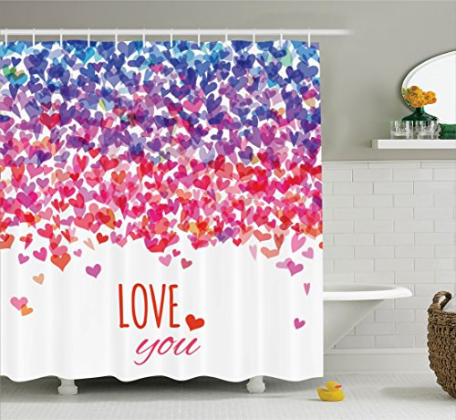 Love Shower Curtain by Ambesonne, Hearts and Love You Message Romantic Valentine's Day Inspired Springtime Cheerful Art, Fabric Bathroom Decor Set with Hooks, 70 Inches, Multicolor