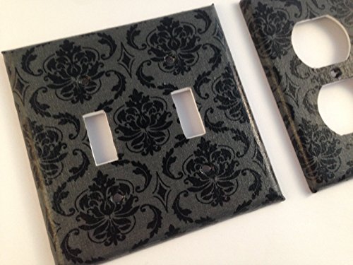 Hollywood Switchplate - Black Grey Damask Light Switch Cover - Various Size Switchplates offered