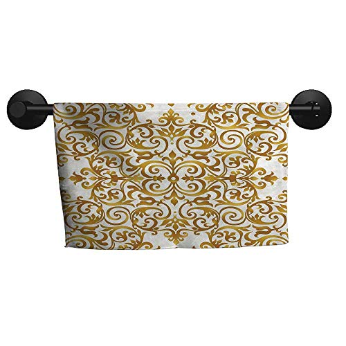 (alisoso Kitchen Decor,Fitness Towels Victorian Golden Lace Antique Baroque Pattern Oriental Ottoman Royal Square Pattern 3D Digital Printing W 24