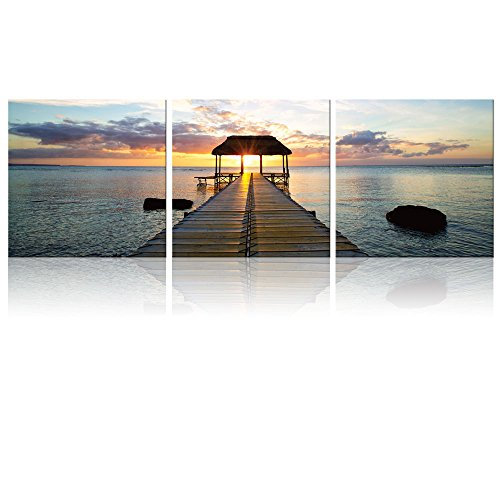 3 Square Panels Contemporary Art Beautiful Scenery of Calm Wood Pier Jetty at Sunset Time Three Gallery ped Printed Piece x3 Panels