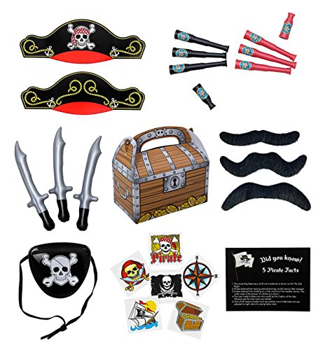 Pirate Party Supplies and Pirate Favor Toy Bundle. 241 Piece Complete Kit Featuring Pirate Themed Inflatable Swords, Tattoos, Mustaches, Eye Patches, Telescopes, Hats, and Fun Pirate Fact Card!