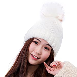 HIG Winter Hats Plushy Knitted Warm Beanie Ski Hat For Fashion Women and Girls (White)