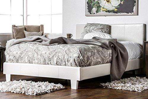 Furniture of America Lauren Leatherette Upholstered Platform Bed, Queen, White