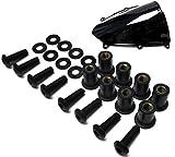Motorcycle Windscreen Black Stainless Steel Bolt Kit Windshield Screws Set of 8 - Honda, Ducati, Suzuki, Kawasaki, Yamaha