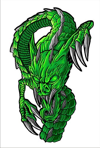 2 sticker set Green Dragon 7 inch x 4.3 inch Motorcycle Sticker Honda CBR Kawasaki Ninja Yamaha YZF Harley Davidson Decal Set (Green Honda Stickers compare prices)