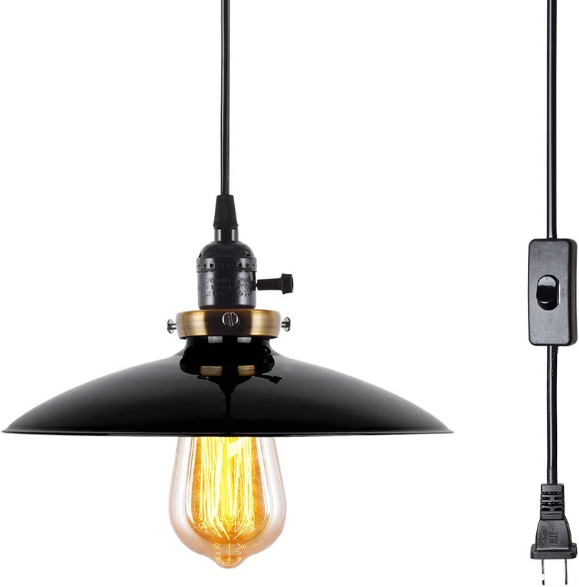 T A UFO Industrial Plug in Pendant Lights with Off On Switch,15.58 FT Cord 1 Light Vintage Hanging Light Fixture for Kitchen Dining Room Black