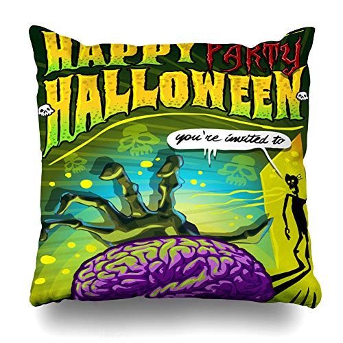 LALILO Throw Pillow Covers, Invite Halloween Party Zombie Brain Backdrop Banner Double-Sided Pattern for Sofa Cushion Cover Couch Decoration Home Gift Bed Pillowcase 18x18 inch -